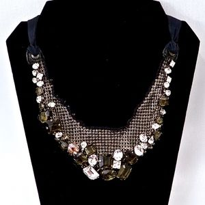 HENRI BENDEL~crystal & gunmetal~STATEMENT NECKLACE